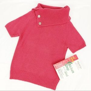 BR Coral Cowl Neck Short Sleeve Sweater Large